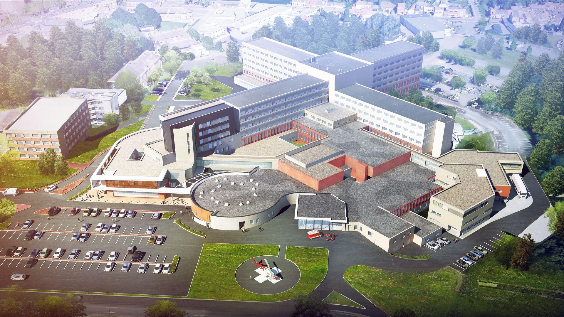 Perspective Aérienne Centre hospitalier de Tourcoing